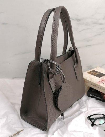 Γυναικεία ανθρακί τσάντα ώμου με πορτοφόλι 210342A