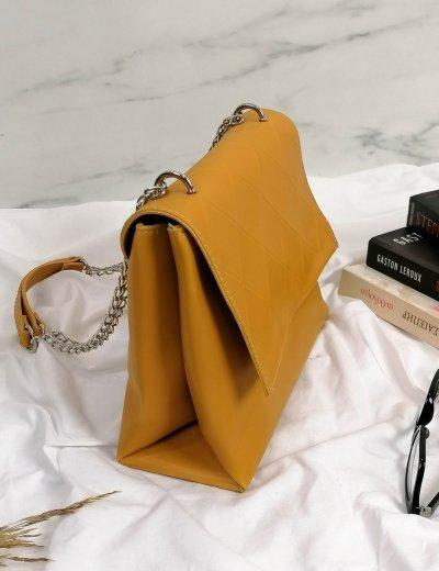 Γυναικείο κίτρινο καπιτονέ τσαντάκι χιαστί 210353U