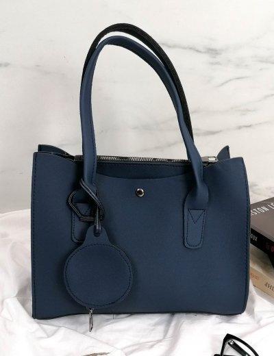 Γυναικεία μπλε τσάντα ώμου με πορτοφόλι 210342X