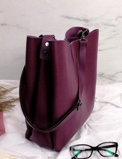 Γυναικεία μωβ τσάντα ώμου με χειρολαβή 210343W