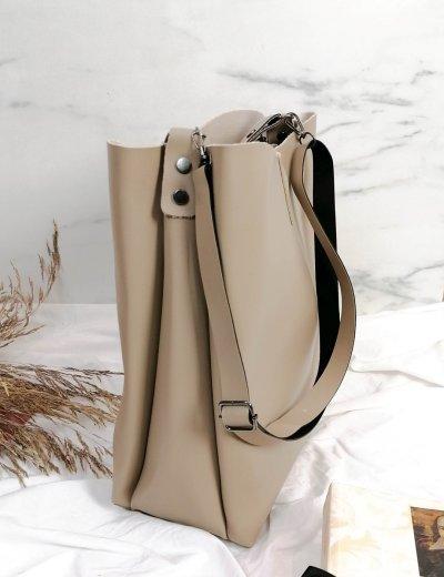 Γυναικεία μπεζ τσάντα ώμου με χειρολαβή 210343M