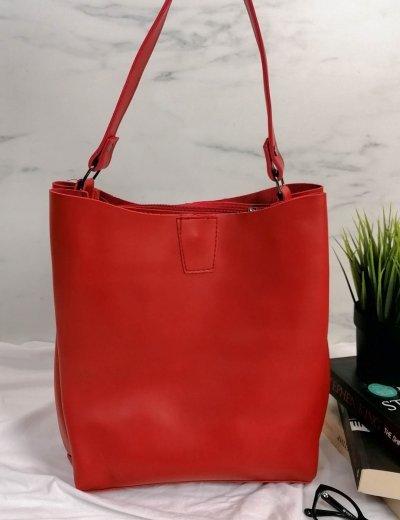 Γυναικεία κόκκινη τσάντα ώμου με χειρολαβή 210343C