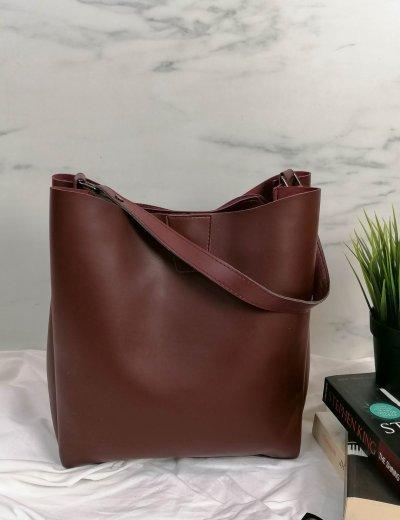 Γυναικεία μπορντό τσάντα ώμου με χειρολαβή 210343