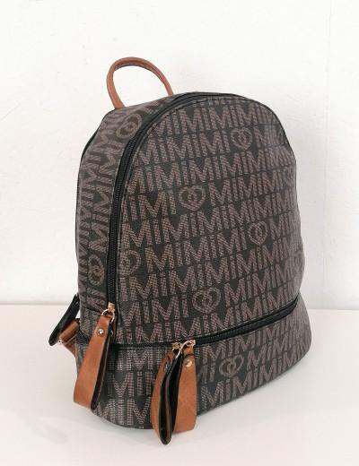 Γυναικείο καφέ Backpack δερματίνη με σχέδια 4335A