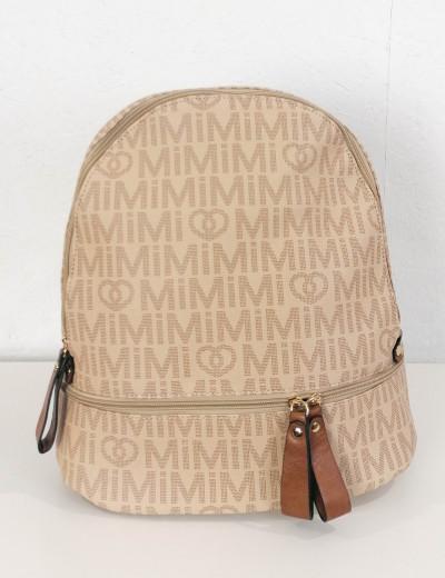 Γυναικείο μπεζ Backpack δερματίνη με σχέδια 4335V
