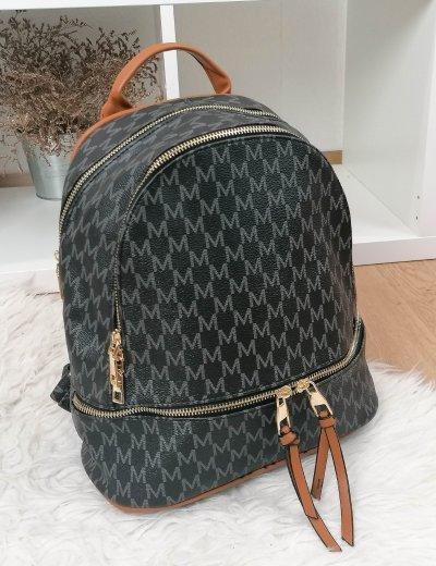 Γυναικείο μαύρο Backpack δερματίνη με διχρωμία 100800K
