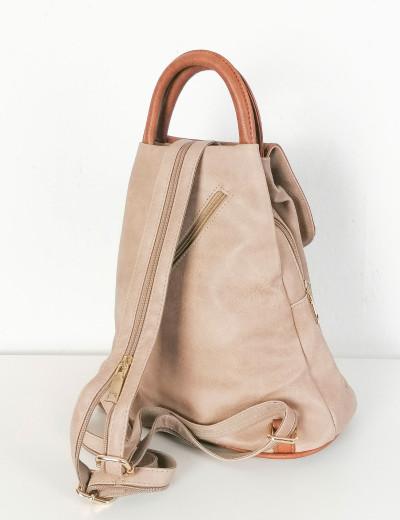 Γυναικείο μπεζ Backpack δερματίνη με διχρωμία 20071A