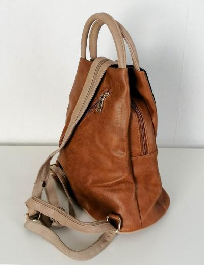 Γυναικείο κάμελ Backpack δερματίνη με διχρωμία 20072D