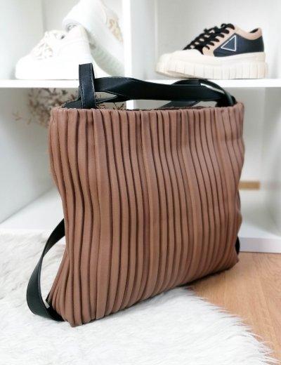 Γυναικεία καφέ πλισέ τσάντα ώμου-Backpack δερματίνη 77065