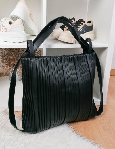 Γυναικεία μαύρη πλισέ τσάντα ώμου-Backback δερματίνη 77065T