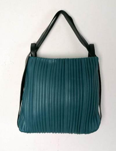 Γυναικεία πετρόλ πλισέ τσάντα ώμου-Backback δερματίνη 77065Q
