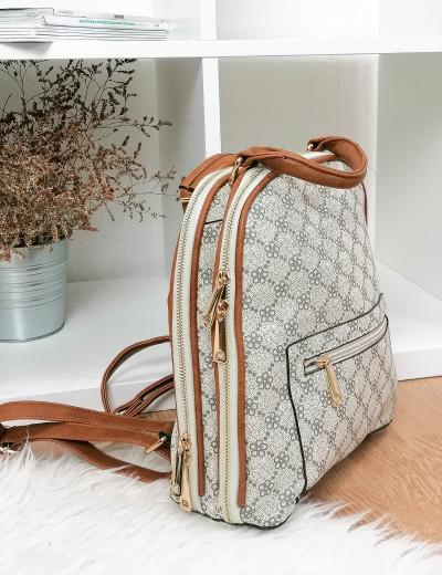 Γυναικείο μπεζ Backpack δερματίνη 593592F