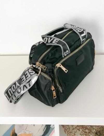 Γυναικεία μαύρη υφασμάτινη τσάντα ώμου με χειρολαβή 6605A