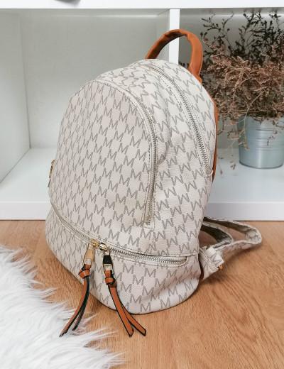 Γυναικείο μπεζ Backpack δερματίνη με σχέδια 100800