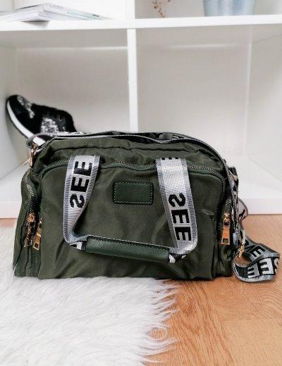 Γυναικεία χακί υφασμάτινη τσάντα ώμου με χειρολαβή 6605C