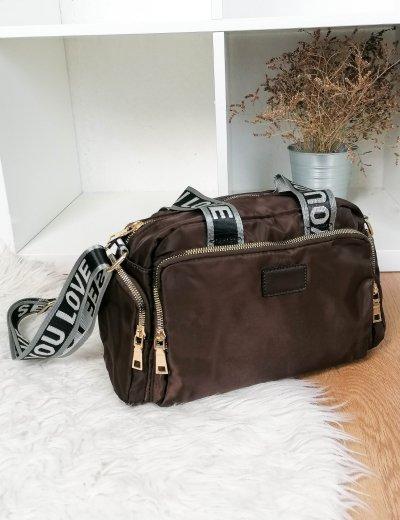 Γυναικεία καφέ υφασμάτινη τσάντα ώμου με χειρολαβή 6605B