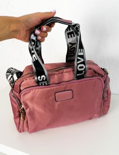 Γυναικεία ροζ υφασμάτινη τσάντα ώμου με χειρολαβή 6605