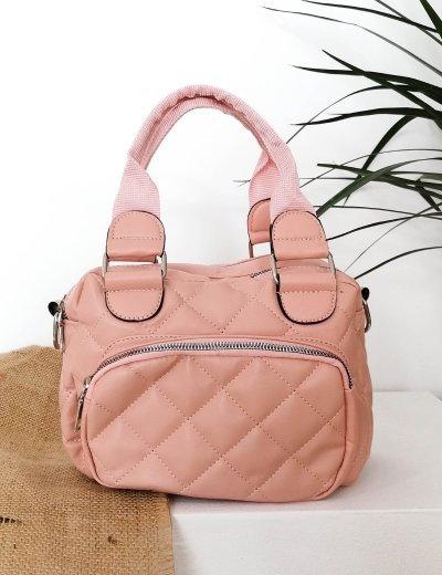 Γυναικεία ροζ καπιτονέ τσάντα χειρός 210360