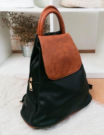 Γυναικείο μαύρο Backpack δερματίνη με διχρωμία 20071