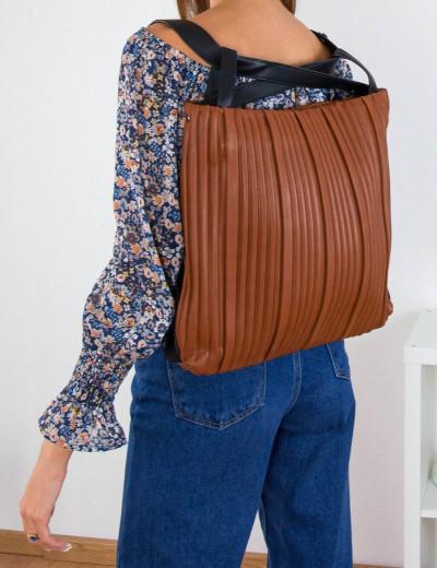 Γυναικεία κάμελ πλισέ τσάντα ώμου-Backback δερματίνη 77065U