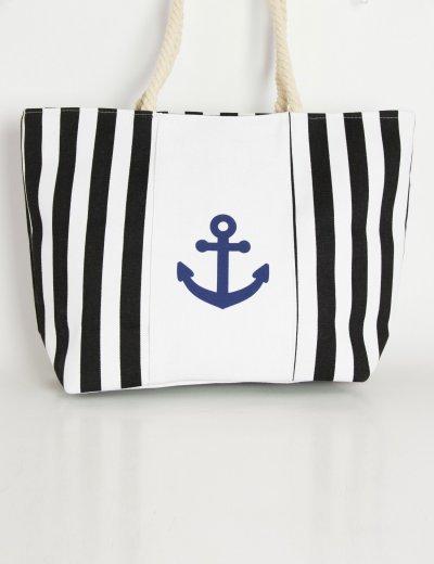 Γυναικεία μαύρη τσάντα θαλάσσης τετράγωνη ριγέ άγκυρες 03737