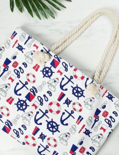 Γυναικεία λευκή τσάντα θαλάσσης τετράγωνη με άγκυρες 3045