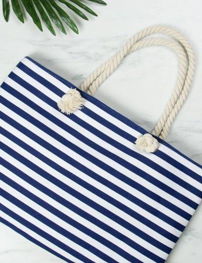Γυναικεία μπλε τσάντα θαλάσσης τετράγωνη ριγέ 3043G