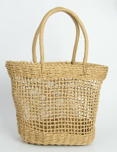 Γυναικεία καφέ ψάθινη τσάντα τετράγωνη με χειρολαβή 700815F