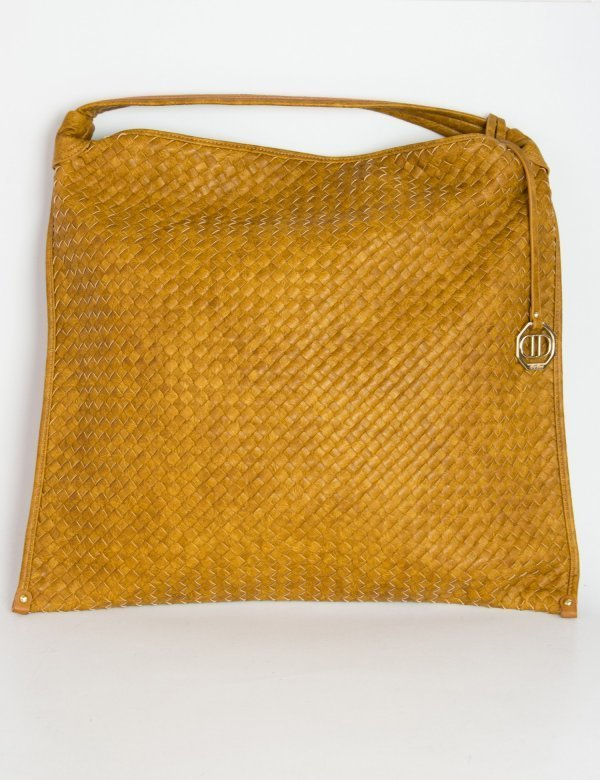Γυναικεία κάμελ τσάντα ώμου κερωμένη πλεκτή 383512