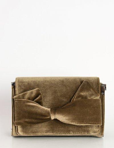 Γυναικεία τετράγωνη Velvet τσάντα καφέ φιόγκος A9257R