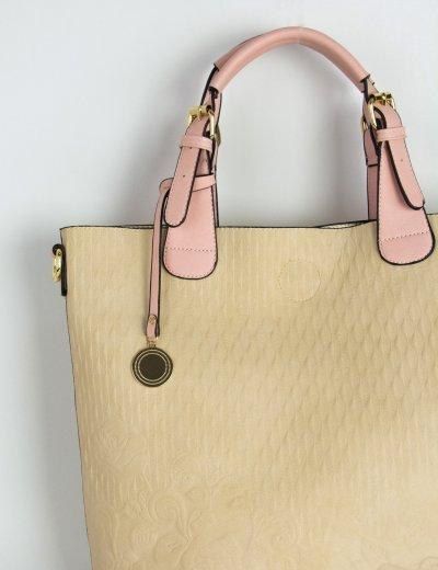 Γυναικεία τσάντα ώμου τετράγωνη μπεζ ανάγλυφο σχέδιο DF6054F