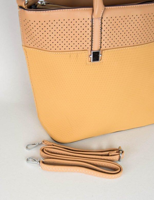 Γυναικεία κάμελ κλασσική τσάντα ώμου ανάγλυφο σχέδιο 2023C