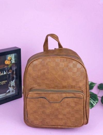 Γυναικείο κάμελ Mini Backpack ανάγλυφο σχέδιο 30630K