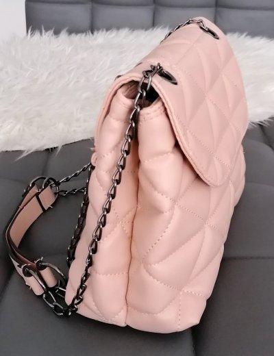 Γυναικεία ροζ καπιτονέ τσάντα ανθρακί αλυσίδα 210345R