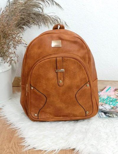 Γυναικείο κάμελ Backpack δερματίνη 66177A