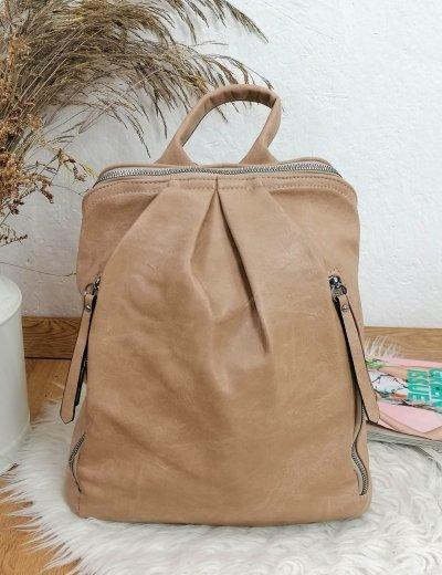 Γυναικείο μπεζ οβαλ Backpack δερματίνη 825825