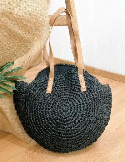 Γυναικεία μαύρη πλεκτή ψάθινη στρογγυλή τσάντα ώμου 275160B