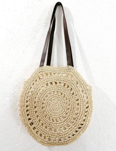 Γυναικεία μπέζ στρογγυλή ψάθινη τσάντα όμου 200460
