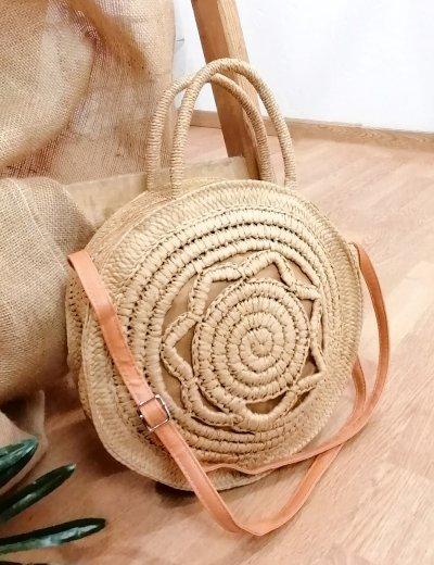 Γυναικεία κάμελ τσάντα χειρός στρογγυλή ψάθινη 200960