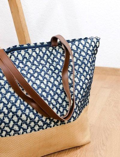 Γυναικεία μπλε ψάθινη ζακάρ τσάντα θαλάσσης 2001460A