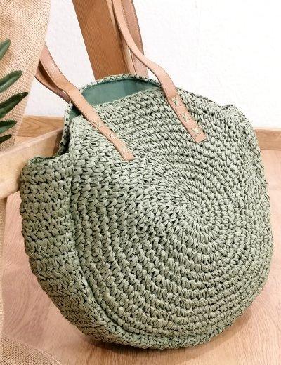 Γυναικεία βεραμάν πλεκτή ψάθινη στρογγυλή τσάντα ώμου 275160C