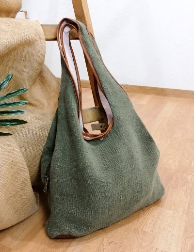 Γυναικεία χακί πικέ τσάντα ώμου 105660