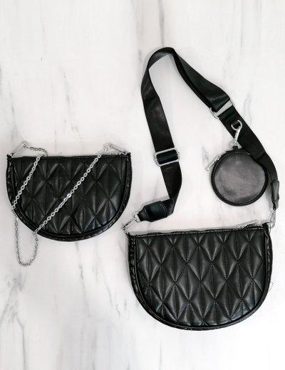 Γυναικεία μαύρη διπλή καπιτονέ τσάντα χιαστί 989282