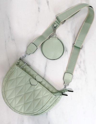 Γυναικεία φυστικί διπλή καπιτονέ τσάντα χιαστί 989282D