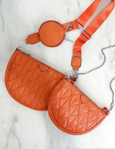 Γυναικεία κεραμιδί διπλή καπιτονέ τσάντα χιαστί 989282C