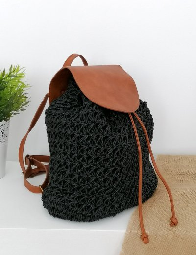Γυναικεία μαύρη ψάθινη τσάντα πλάτης 2001660