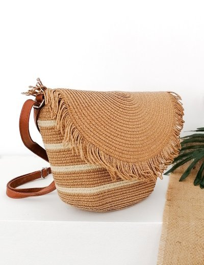 Γυναικεία κάμελ χιαστί ψάθινη τσάντα με κρόσια 200160