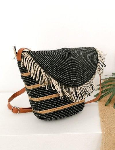 Γυναικεία μαύρη χιαστί ψάθινη τσάντα με κρόσια 200160A