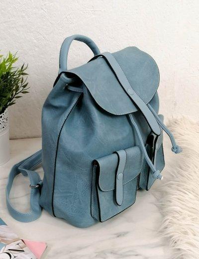 Γυναικείο γαλάζιο σακίδιο πλάτης με κούμπωμα 5397G
