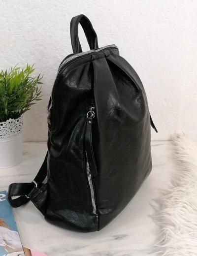 Γυναικείο μαύρο οβαλ Backpack δερματίνη 825825B